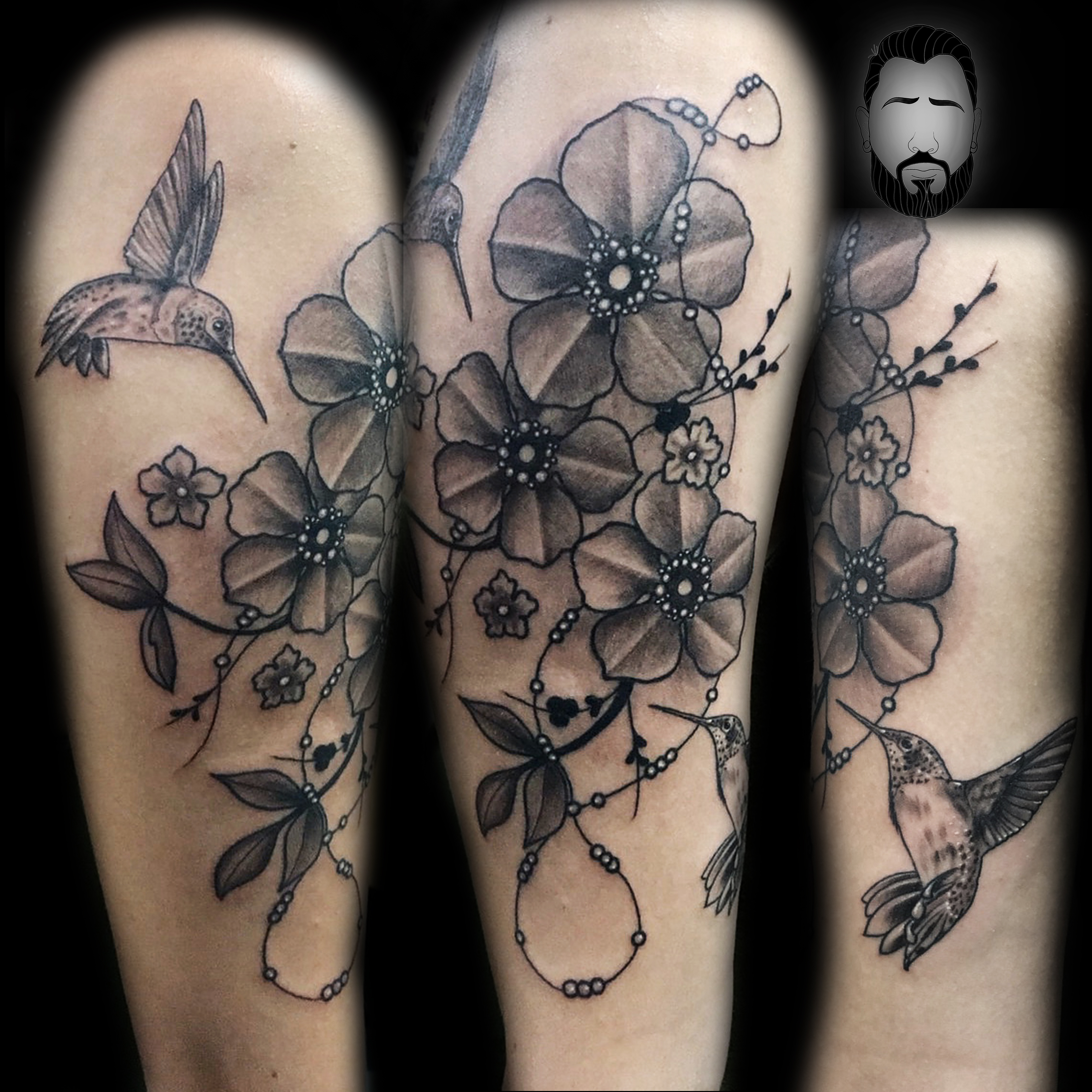 Cool Flowers and Hummingbirds in Black and Grey on Arm by David ...