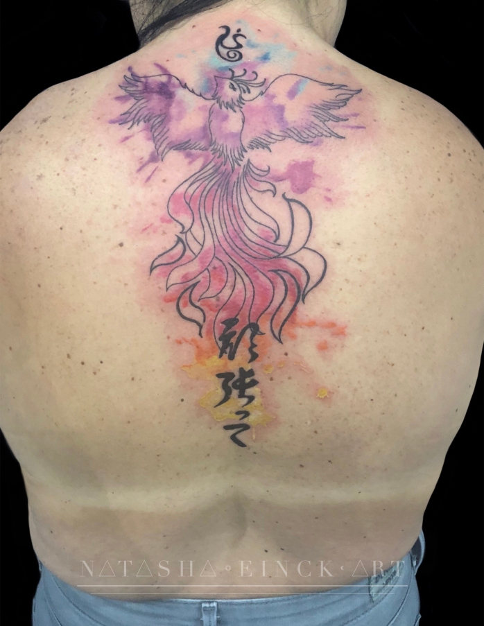 Stunning Back Piece of Colorful Phoenix by Natasha Einck at White ...