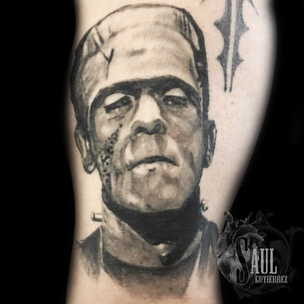 Saul24, saul gutierrez frankenstein realistic portrait in black to be published 8.19.18