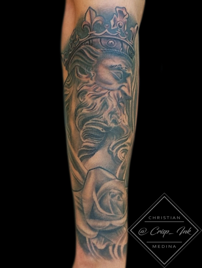 Christian Medina 11 neo classical king figure forearm sleeve in black and grey portrait rose