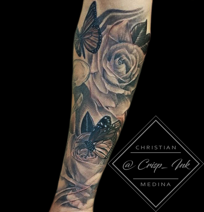Beautiful Half Sleeve On Forearm Of Roses And Butterflies In Black